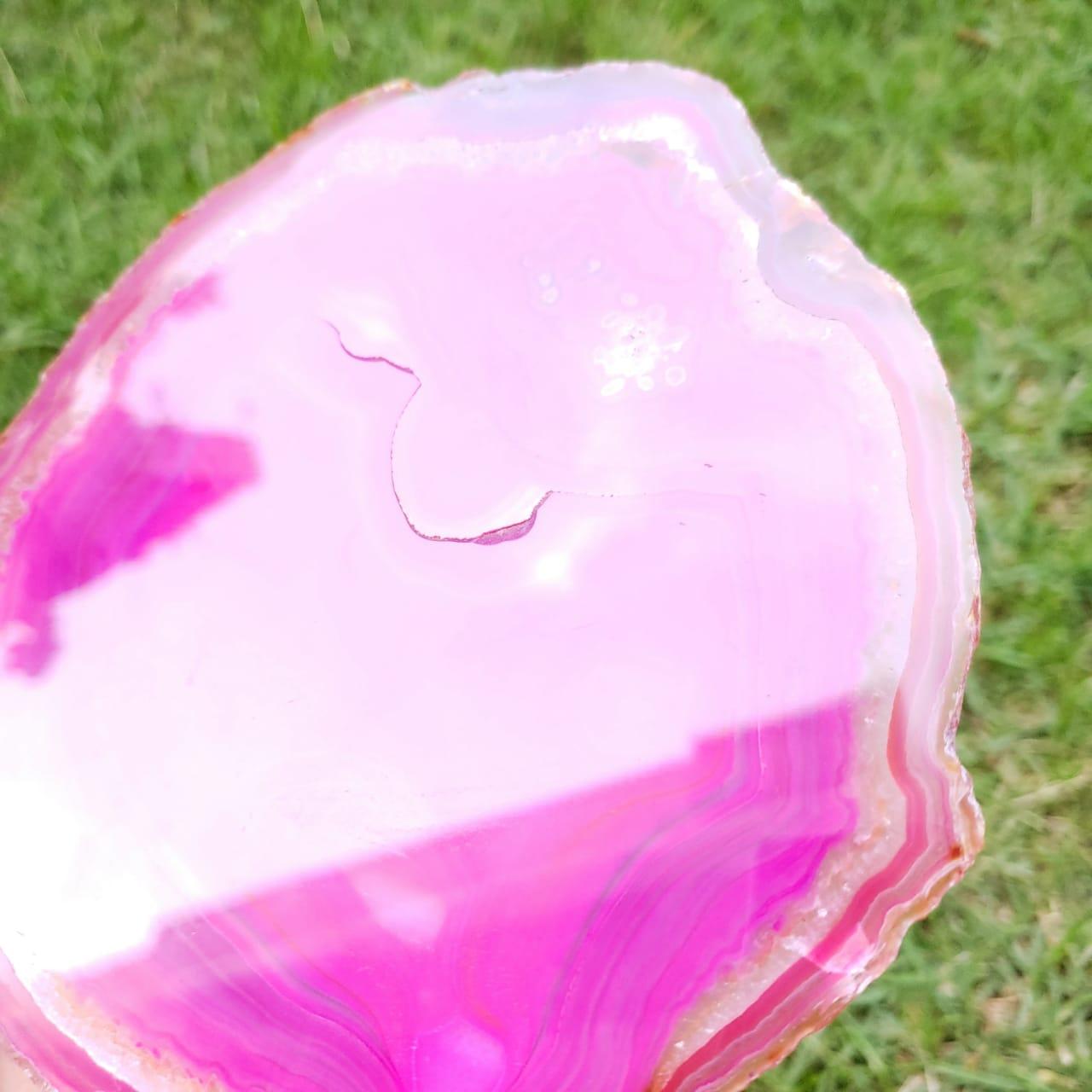Cristal - Chapa - Placa Ágata Rosa - Com Suporte