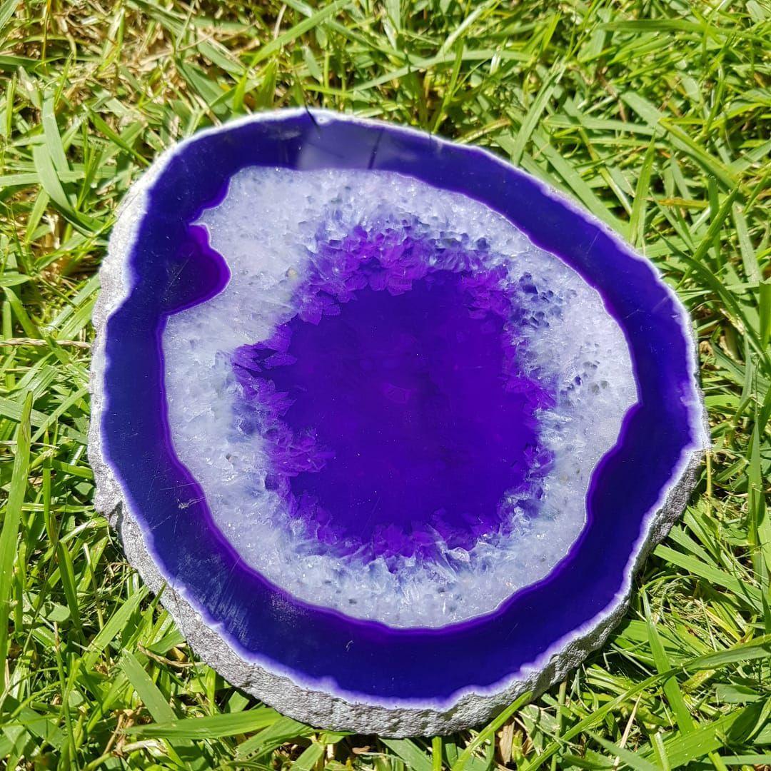 Cristal - Chapa - Placa Ágata Roxa