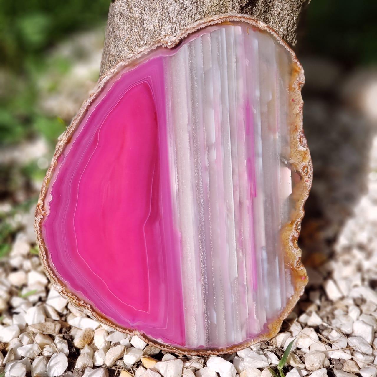 Cristal - Chapa - Placa de Ágata Rosa