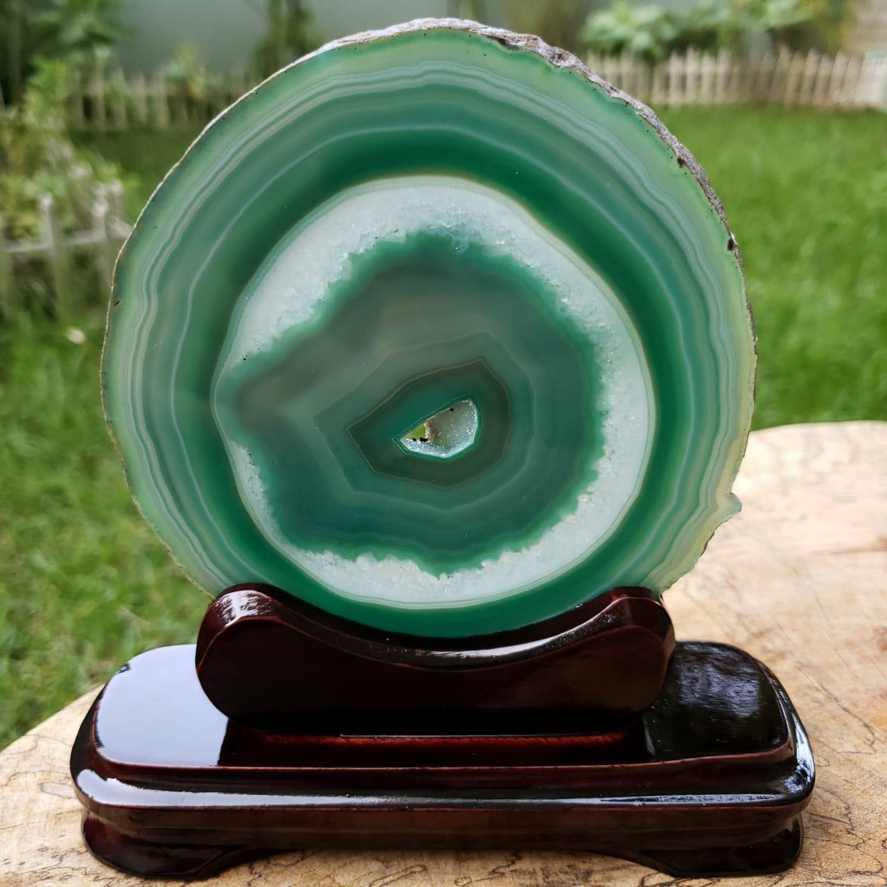 Cristal - Chapa - Placa de Ágata Verde - Com Suporte