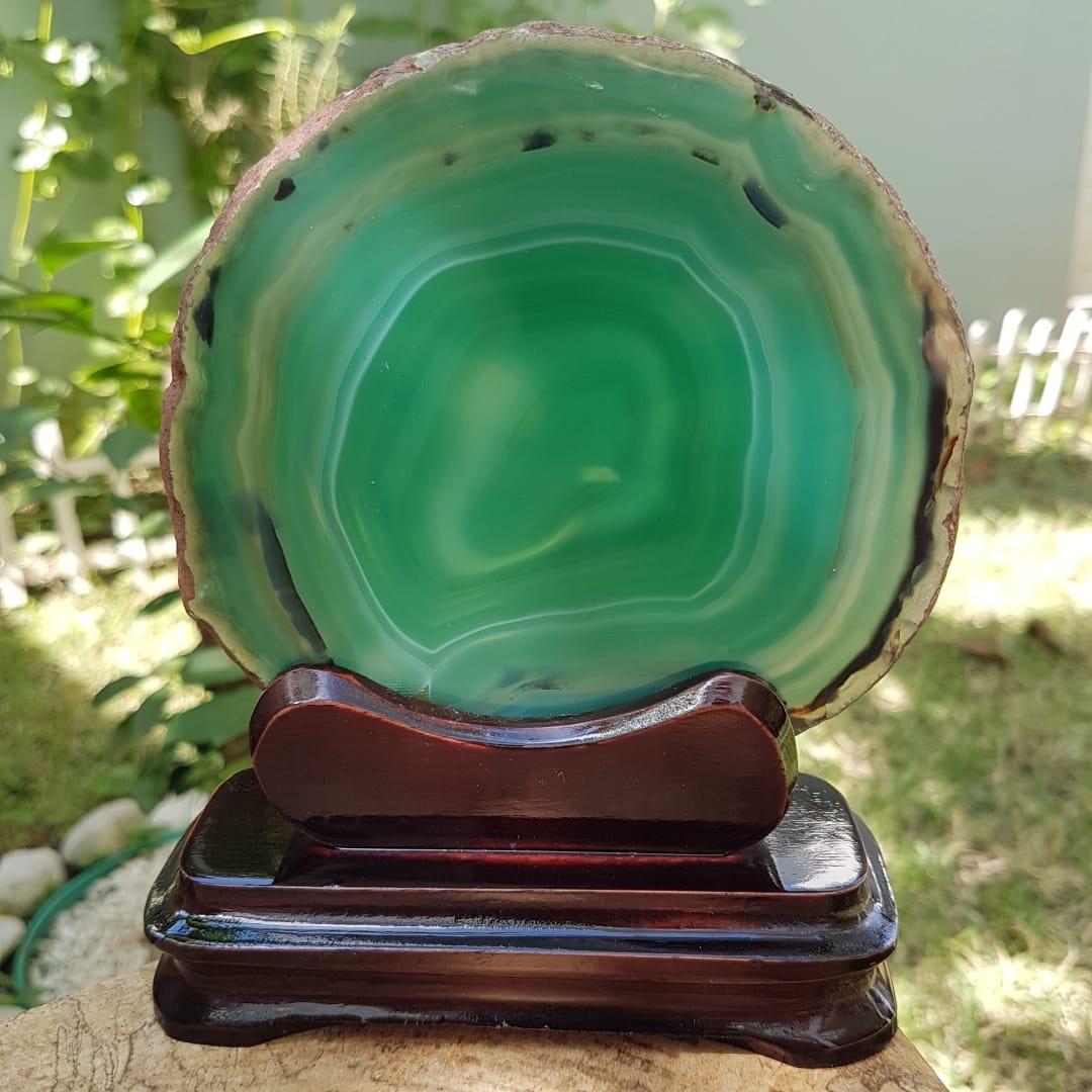 Cristal - Chapa - Placa de Ágata Verde - Grátis Suporte