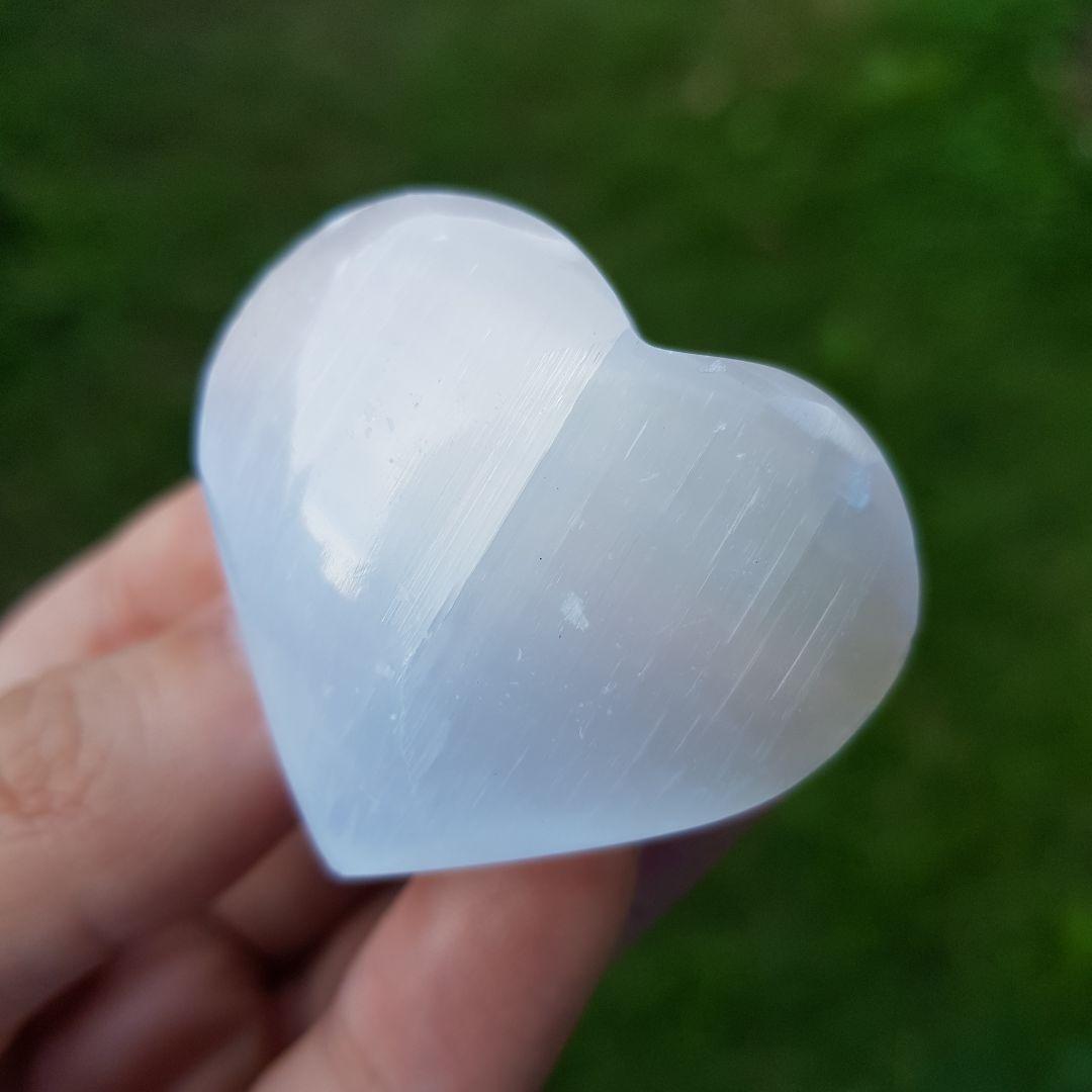 Cristal - Coração de Selenita Lapidado