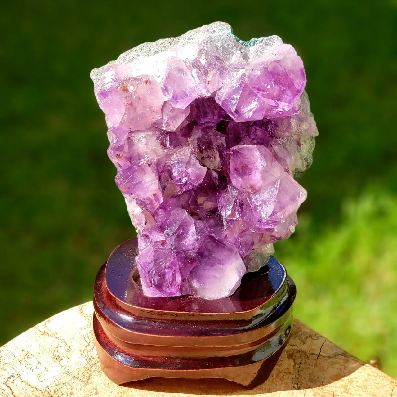 Cristal - Drusa Com Base de Madeira - Ametista