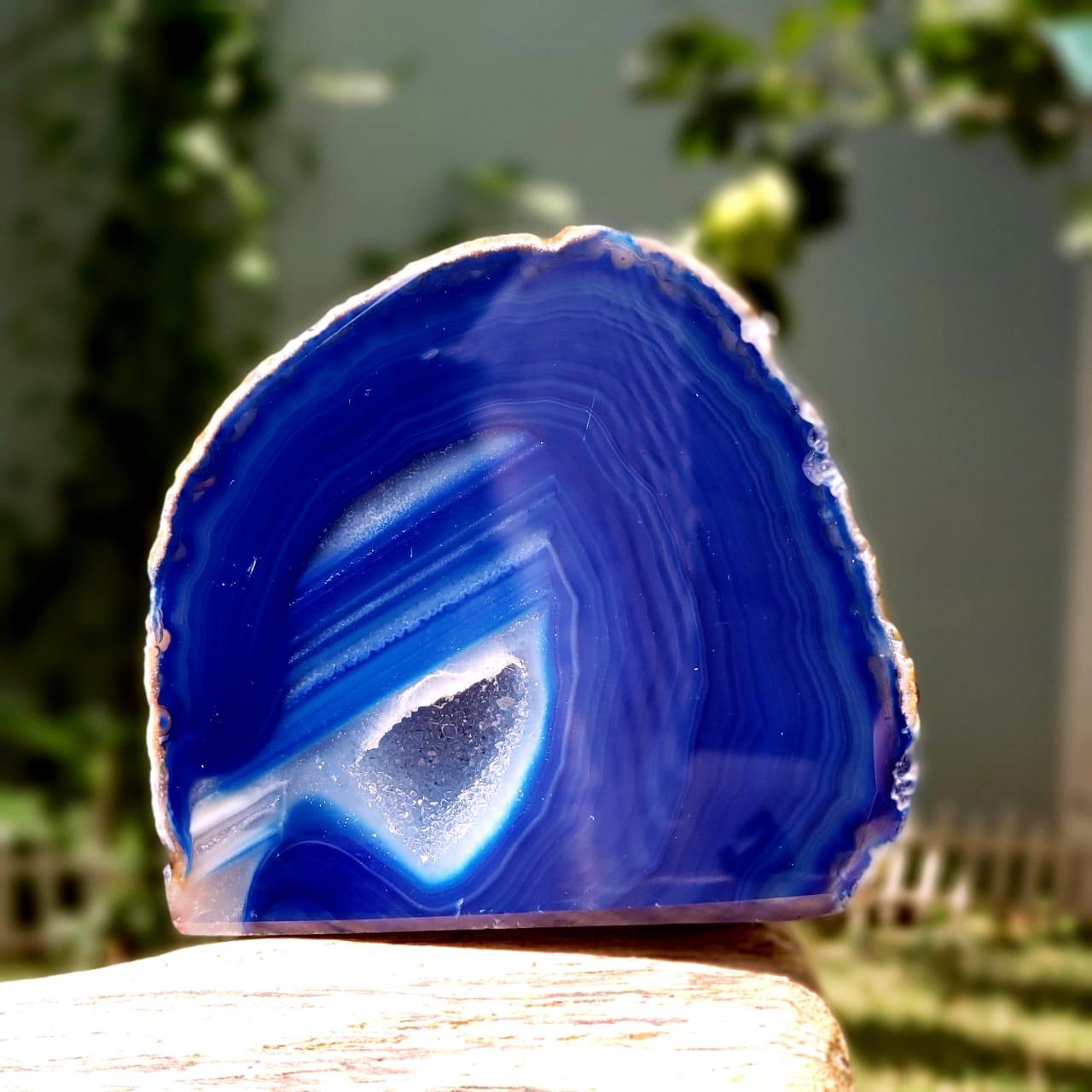 Cristal - Geodo - Ágata Azul Com Quartzo