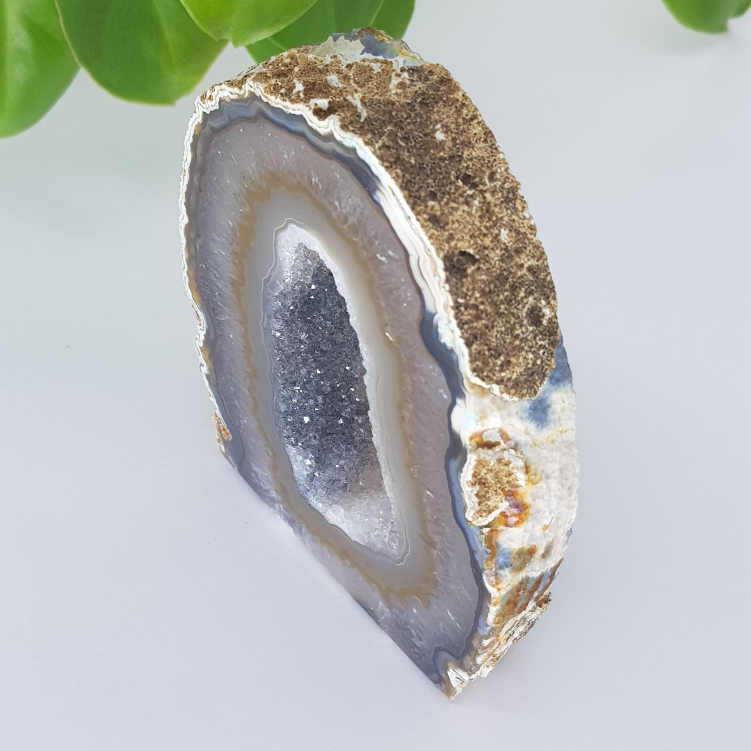 Cristal - Geodo - Ágata Marrom com Cristalização de Quartzo
