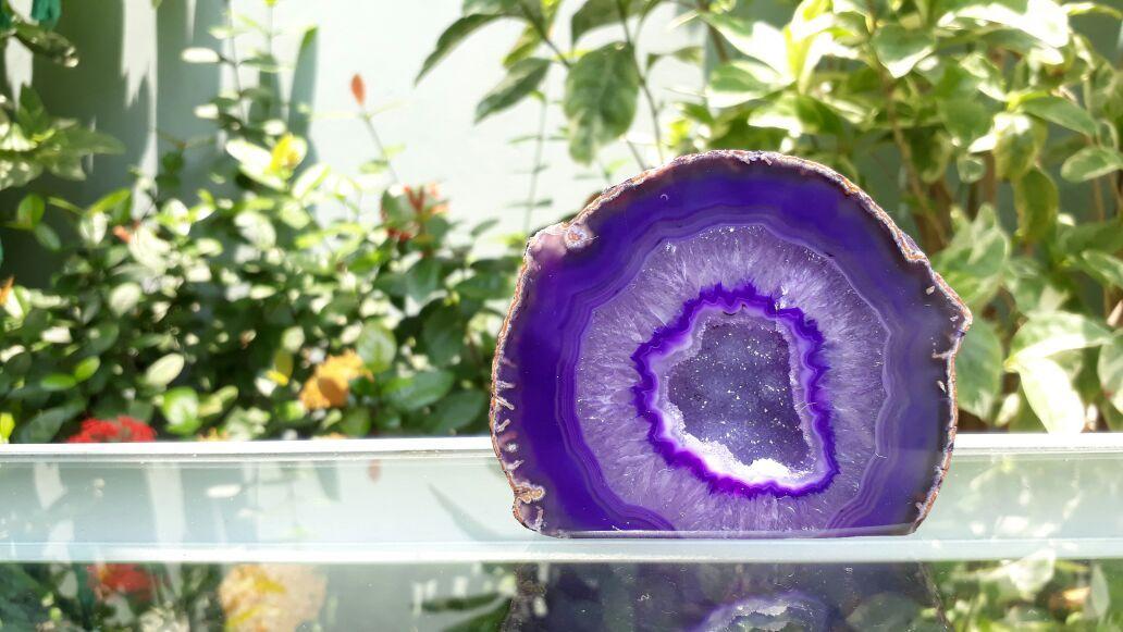 Cristal - Geodo - Ágata Roxa com Cristalização de Quartzo