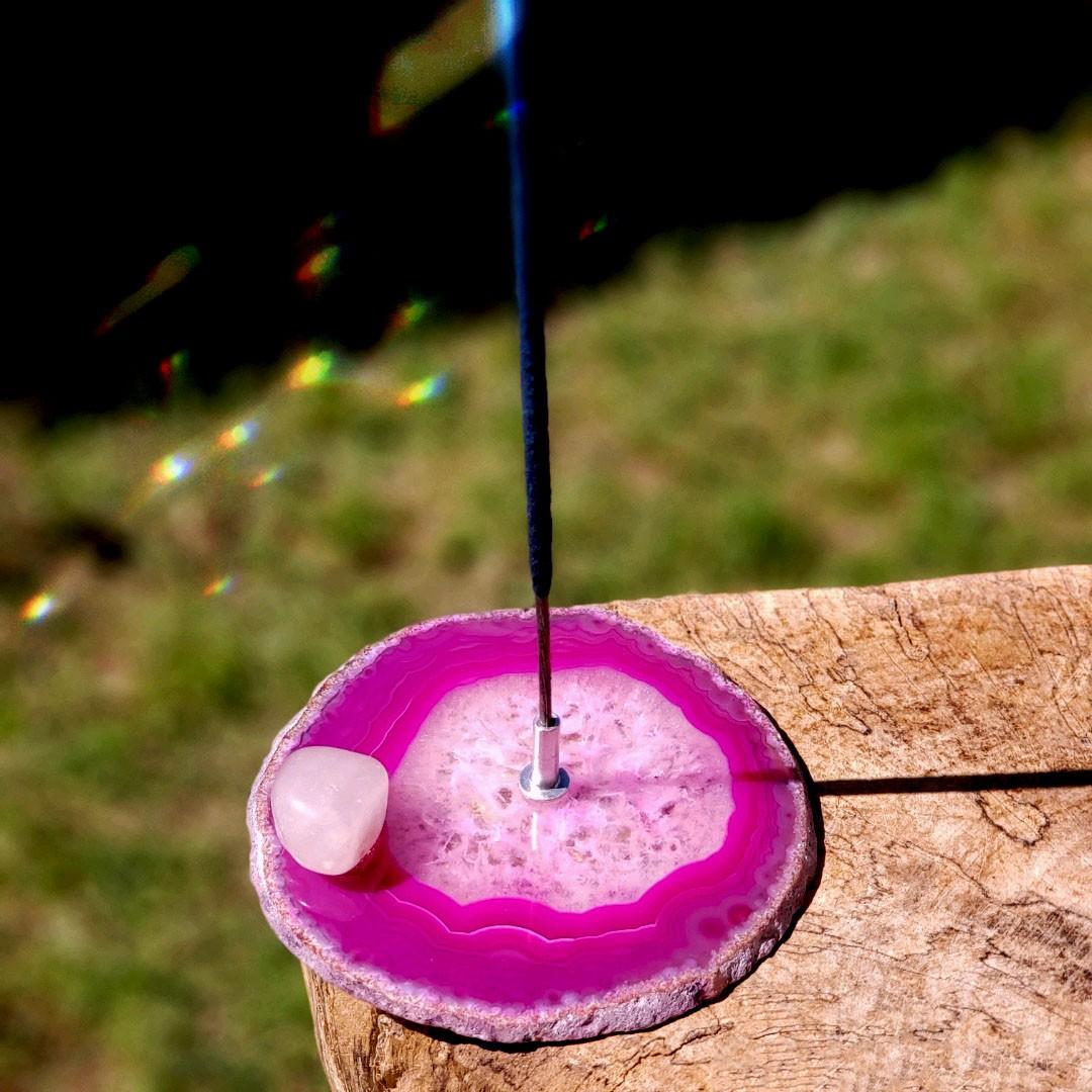 Cristal - Incensário Placa de Ágata Rosa Sortido