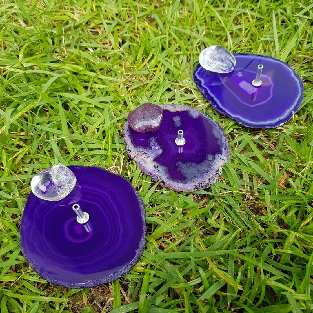 Cristal - Incensário Placa de Ágata Roxa Sortido
