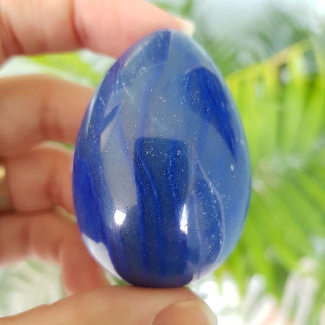 Cristal - Ovo de Quartzo Azul com suporte de metal