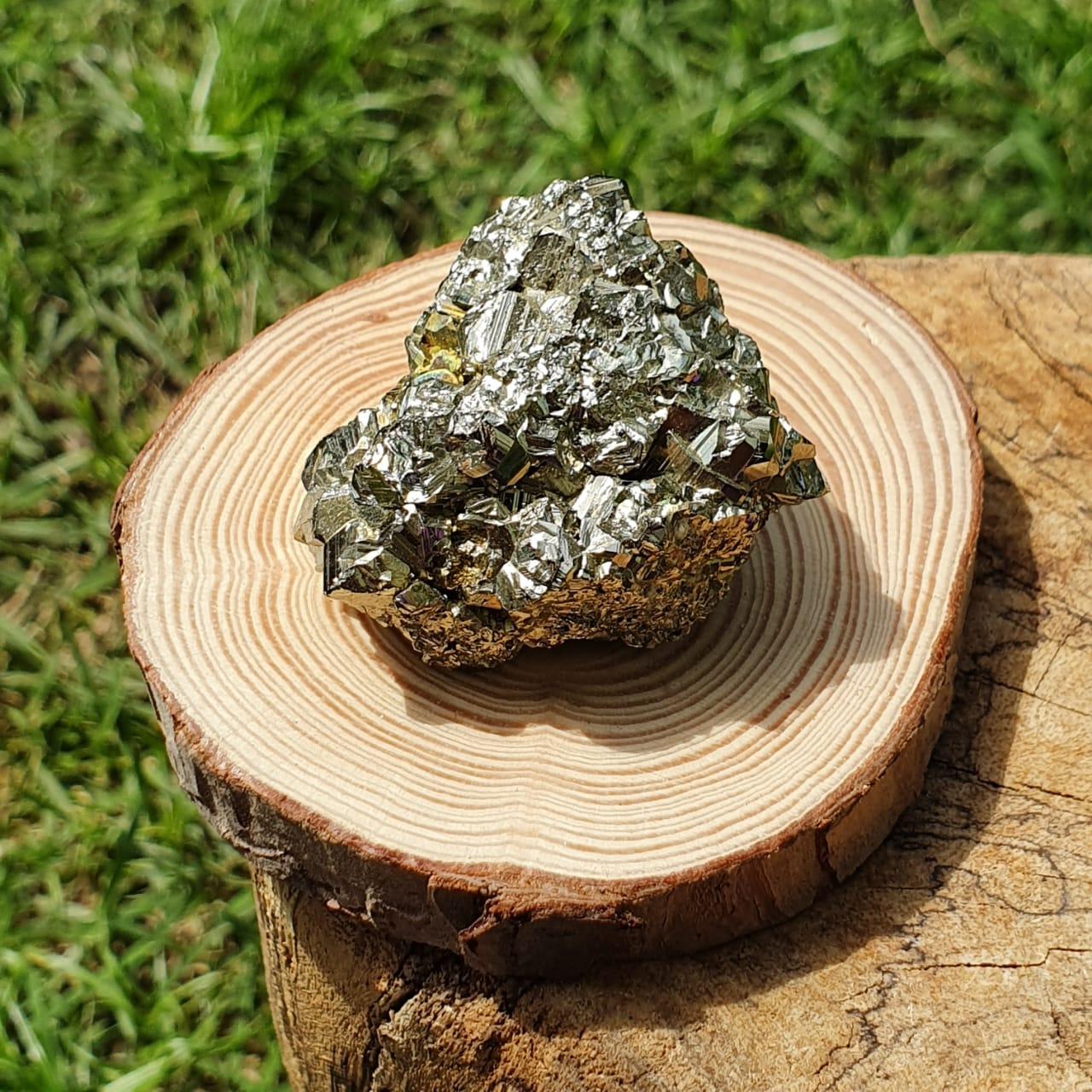 Cristal - Pedra Bruta Pirita com Suporte