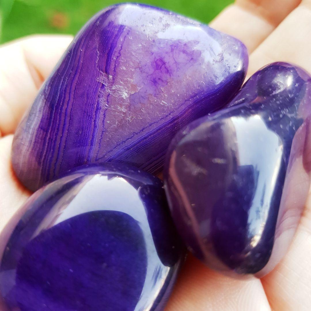 Cristal - Pedra Rolada - Ágata Roxa (Pacote com 100g)
