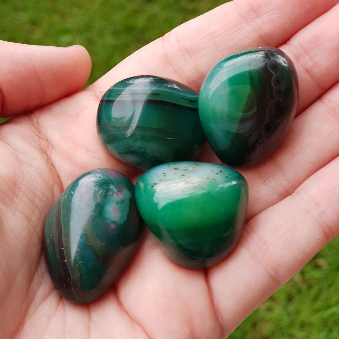 Cristal - Pedra Rolada - Ágata Verde (Pacote com 100g)