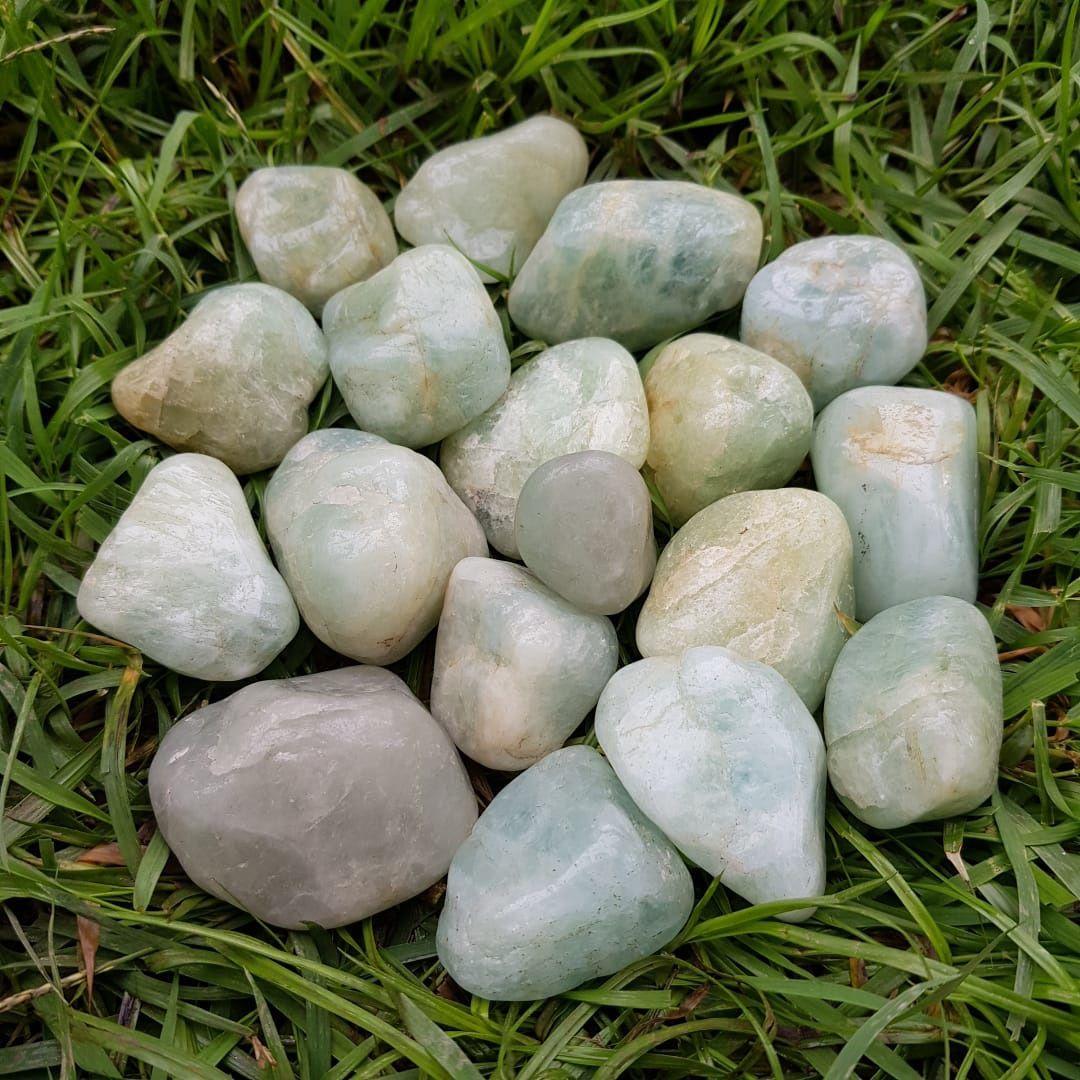 Cristal - Pedra Rolada - Água Marinha (Pacote com 100g)