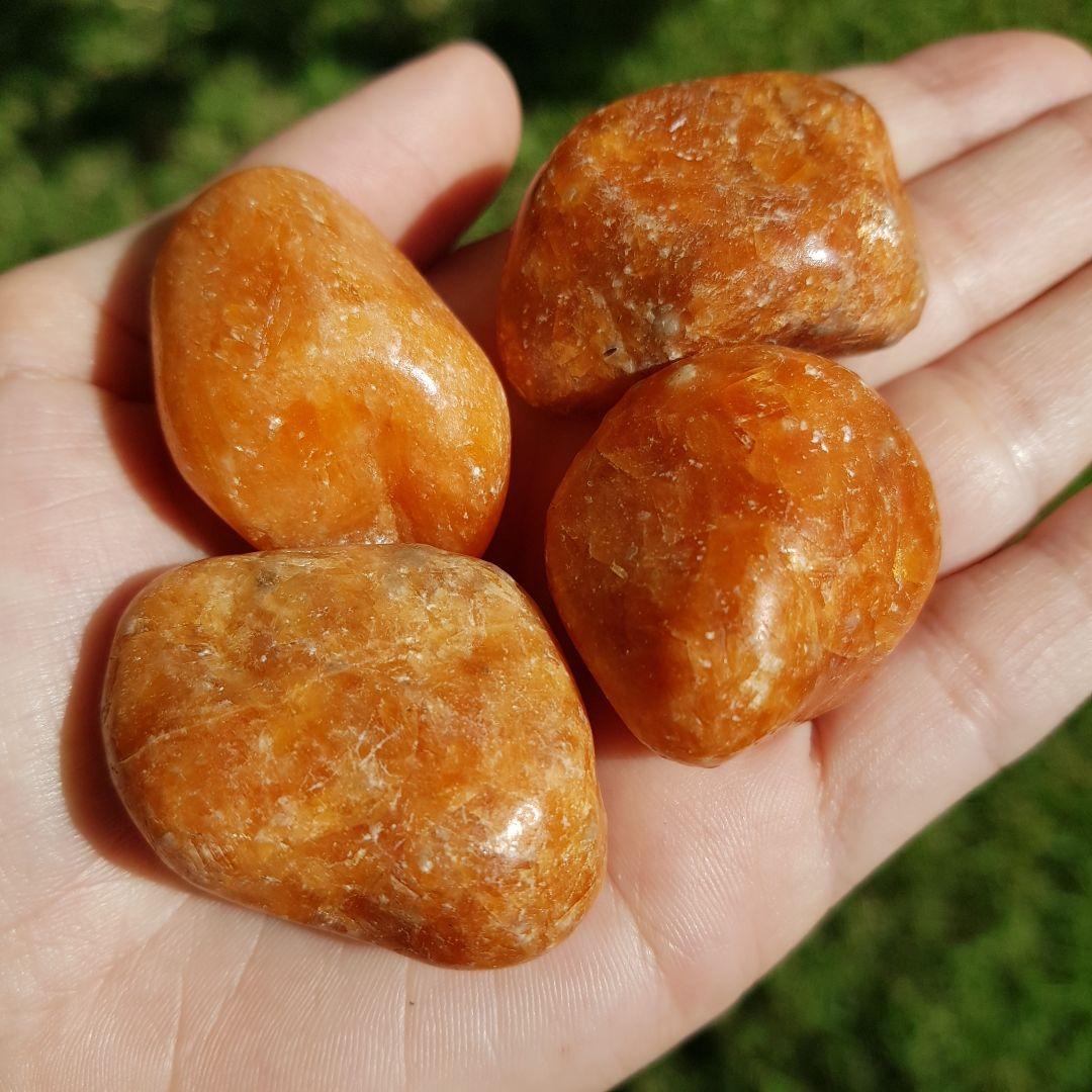 Cristal - Pedra Rolada - Calcita Laranja (Pacote com 100g)