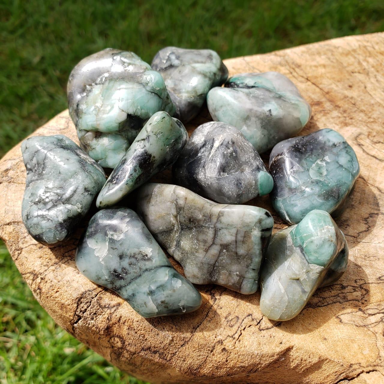 Cristal - Pedra Rolada - Esmeralda (Pacote com 100g)