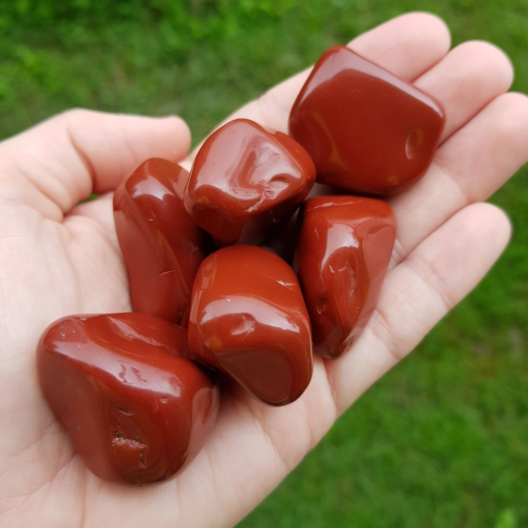 Cristal - Pedra Rolada - Jaspe Vermelho - Criatividade e vitalidade