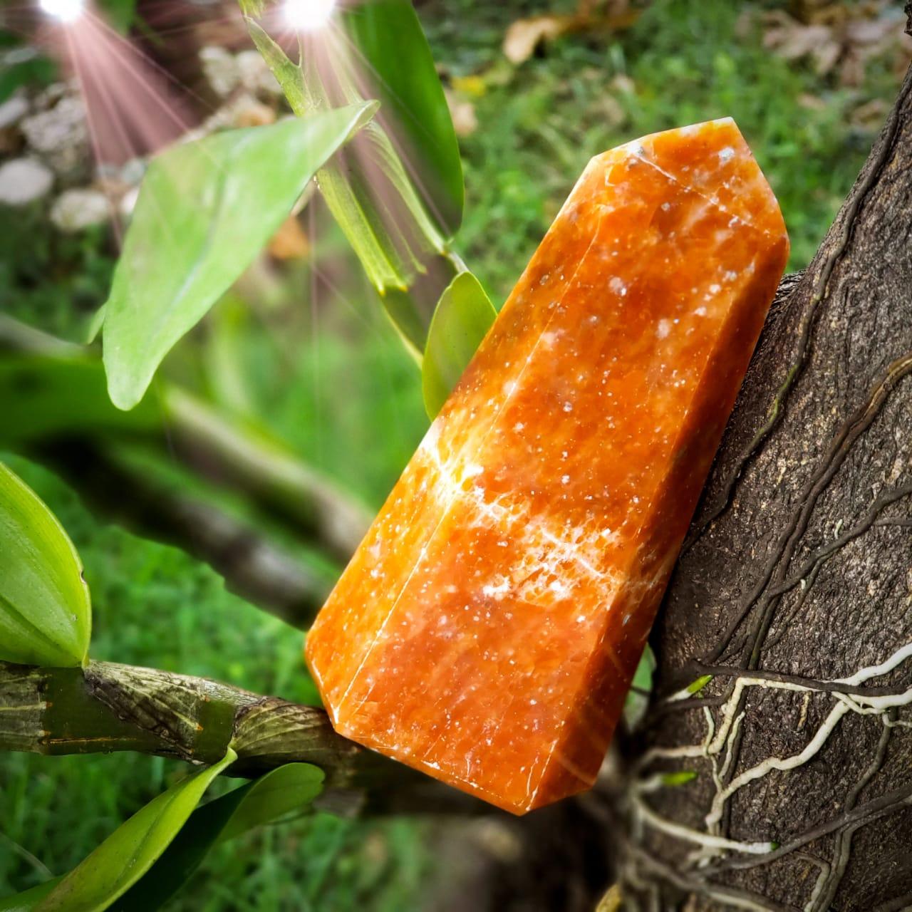 Cristal - Ponta - Calcita laranja