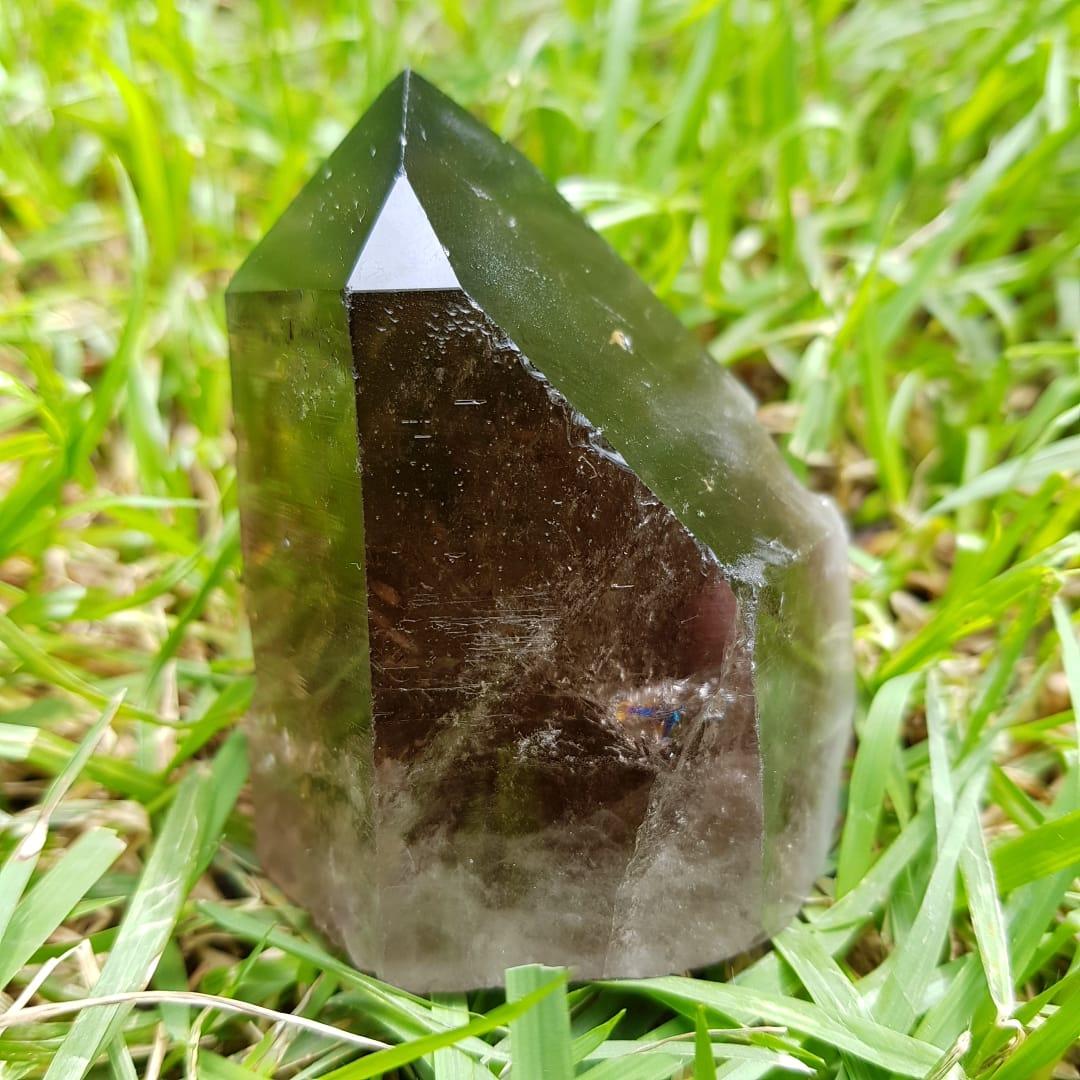Cristal - Ponta - Quartzo Fumê Proteção e Luz
