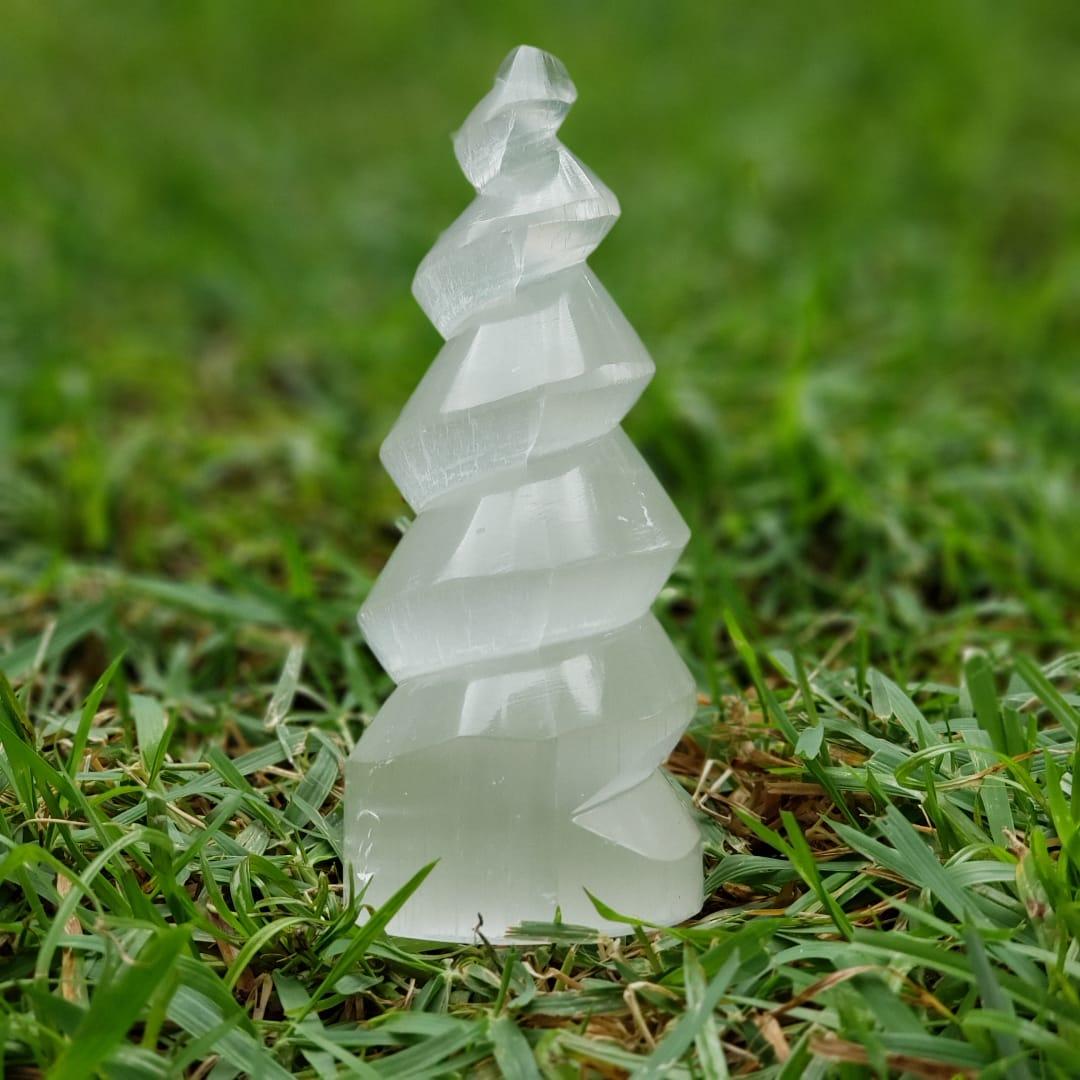 Cristal - Torre Espiral de Selenita Polida Pequena