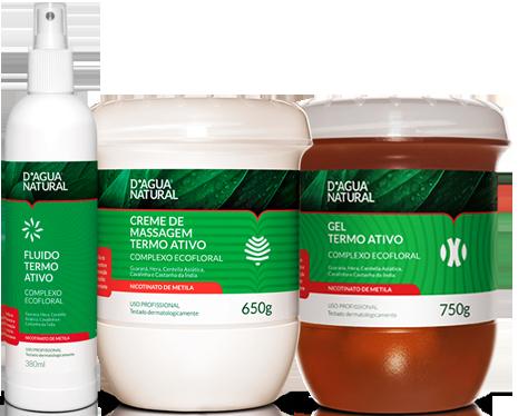 D'água Natural - Kit Termo Ativo Com Nicotinato de Metila - Fluido 380ml + Creme de Massagem 650g + Gel 750g