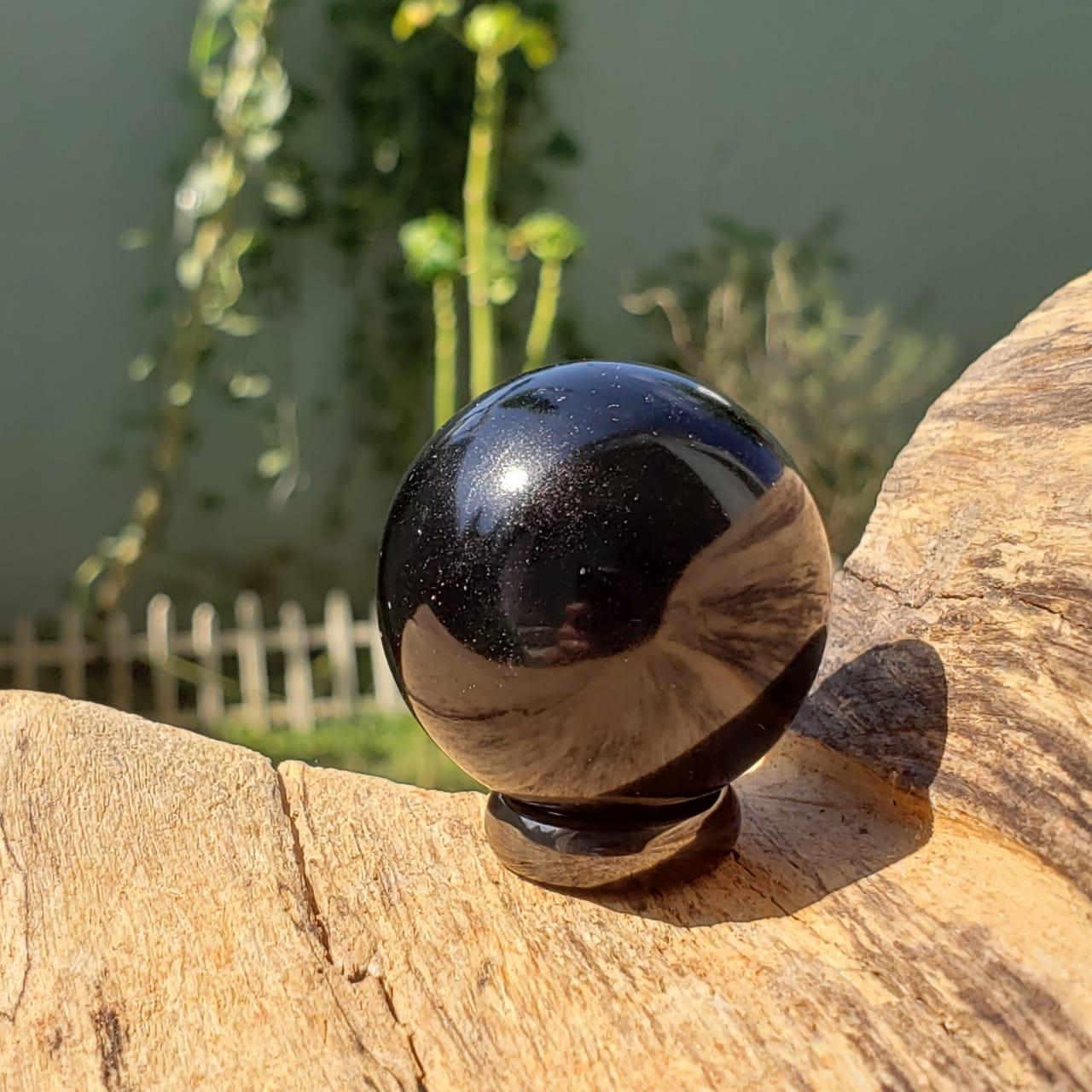Esfera de Obsidiana Negra Bola para Proteção Energética