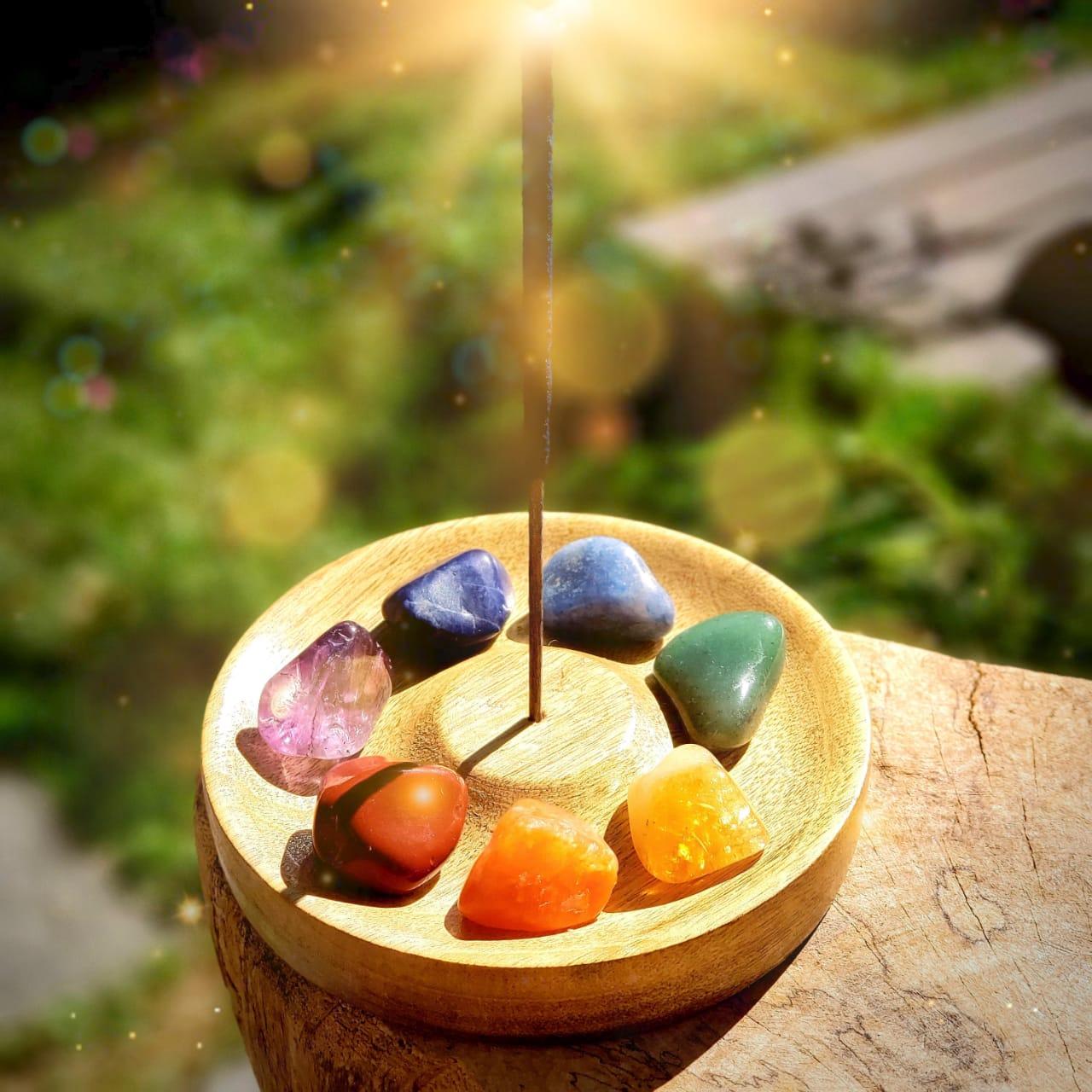 kit Equilíbrio das Emoções Incensário + Pedras dos 7 Chacras
