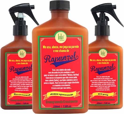 Lola Cosmetics - Kit Rapunzel -  Shampoo 250ml + Tônico de Crescimento 250ml + Milk Spray 250ml