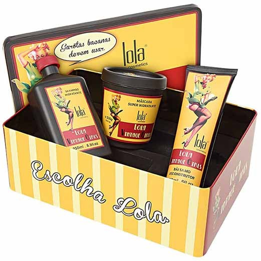 Lola Cosmetics - Lata Vintage Girls - Kit Home Care - Shampoo 250ml + Máscara 230g + Bálsamo 150ml + Lata