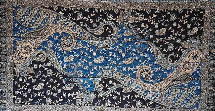 Manta/Tapete Indiano - 2,20m x 0,68m - Azul Retangular Dupla Face - PEÇA ÚNICA
