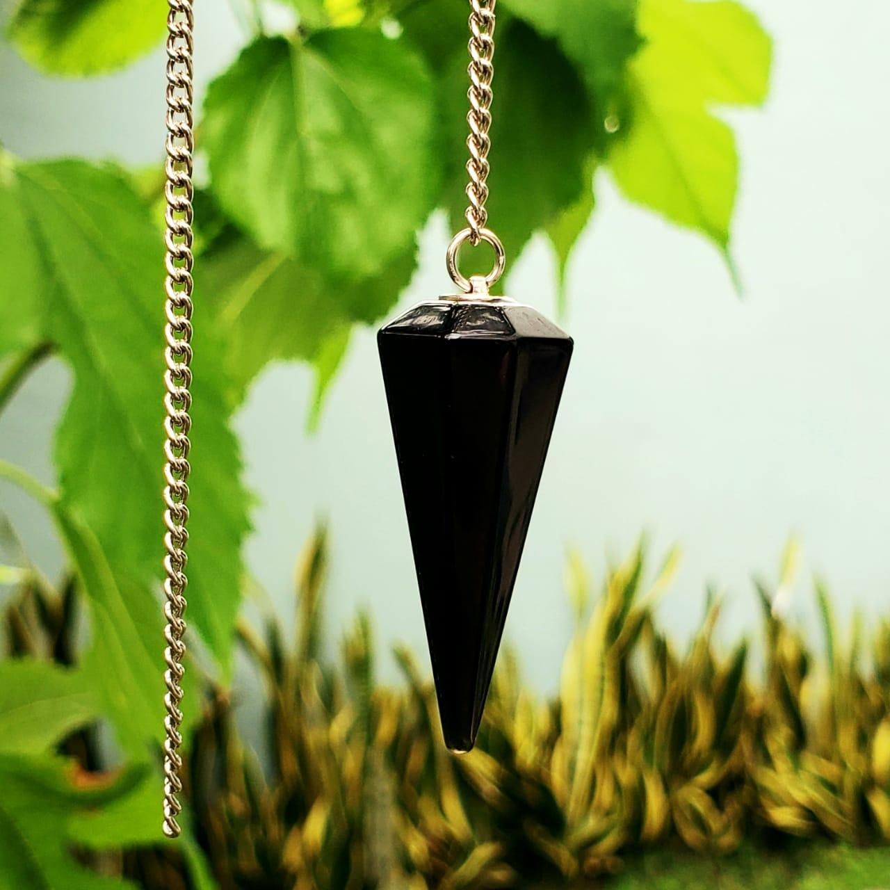 Pêndulo Facetado de Obsidiana Negra
