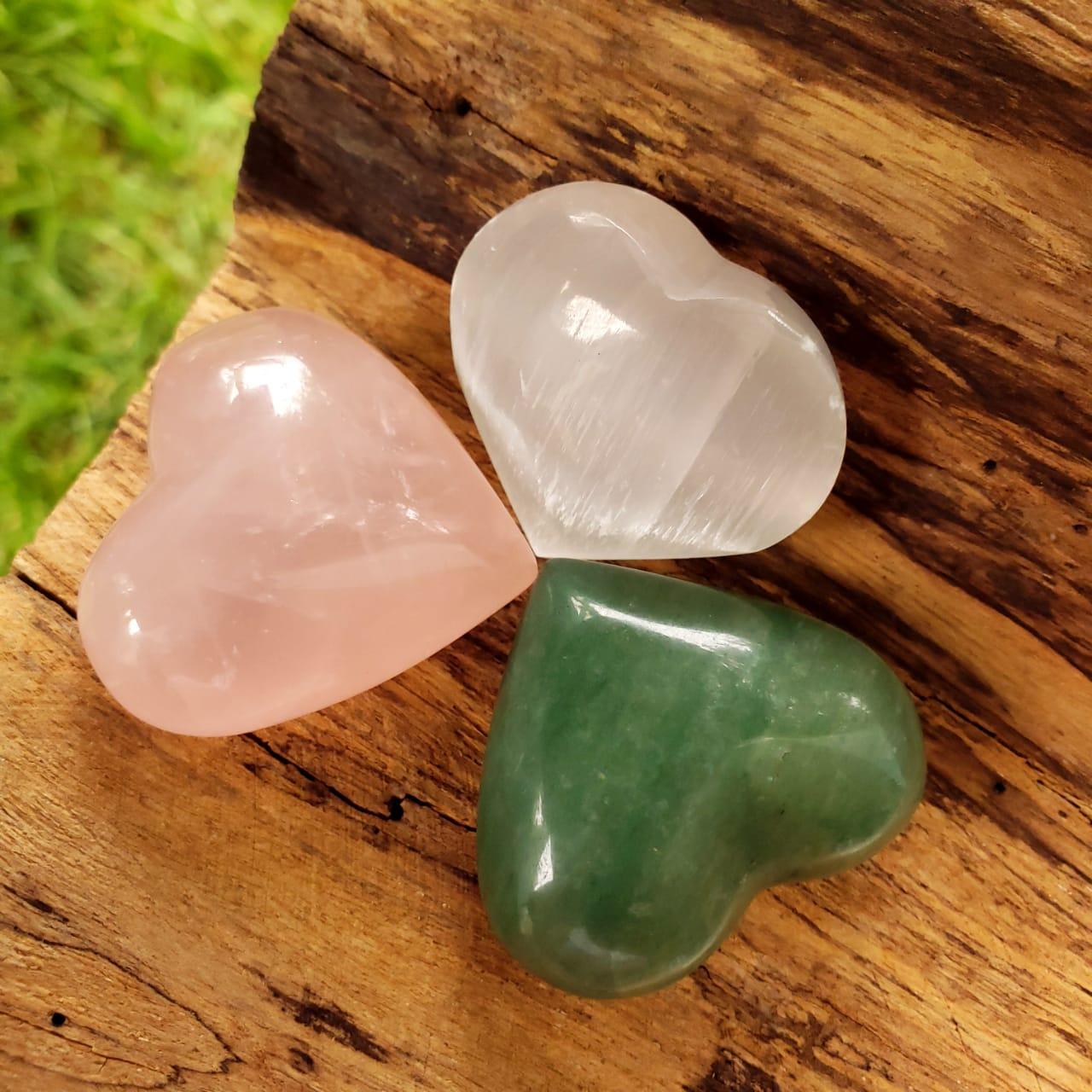 Selenita, Quartzo Rosa e Quartzo Verde Kit Corações