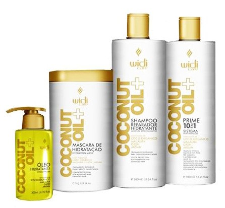 Widi Care - Kit Coconut Oil - Shampoo 980ml + 10 em 1 Prime 980ml + Máscara 1Kg + Óleo Hidratante 100ml