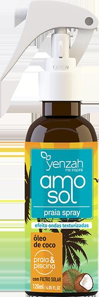 Yenzah - Praia Spray AMO Sol - Efeito Ondas Texturizadas - Com Filtro Solar - 120ml