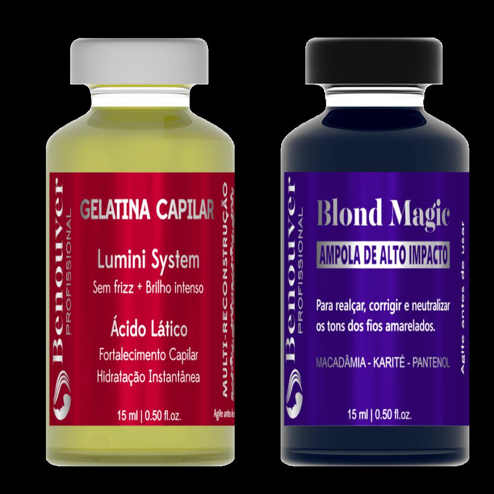 ( Ampola Blond Magic + Ampola Gelatina Capilar ) Benouver Profissional 15ml