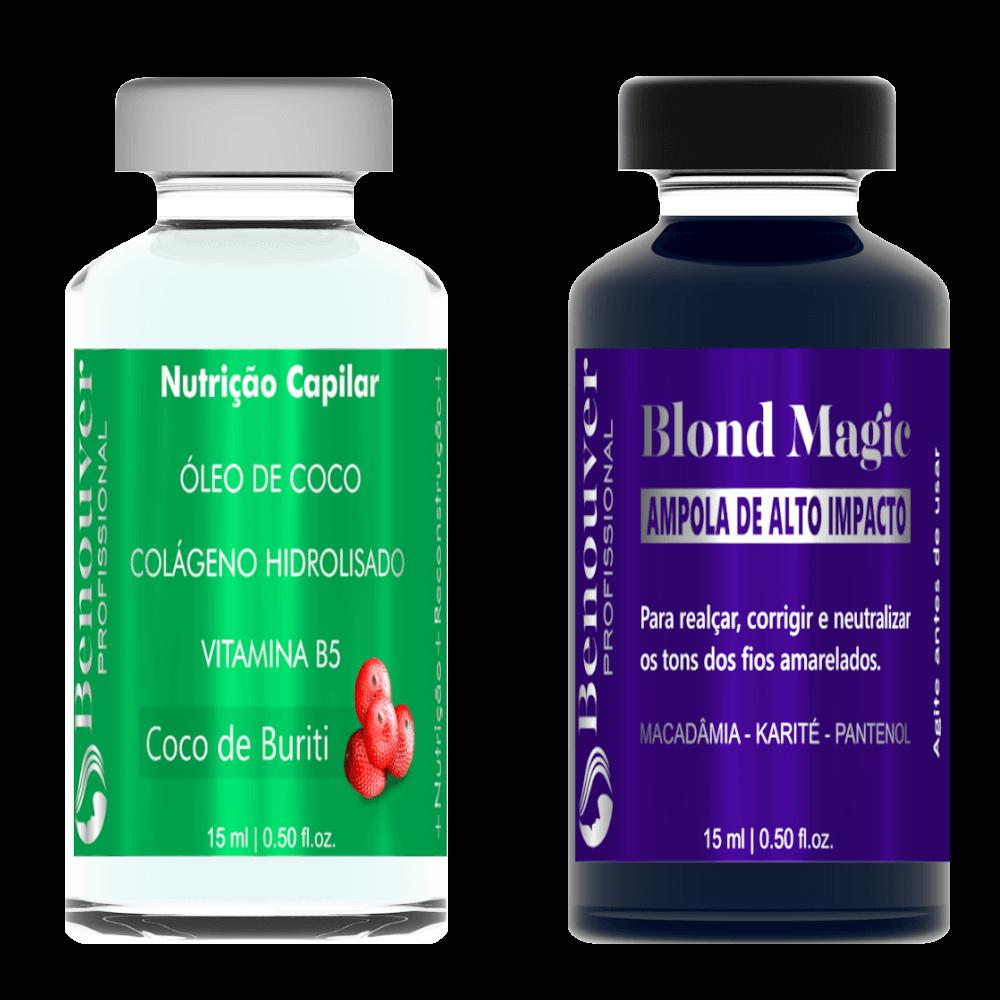 ( Ampola Blond Magic + Ampola Nutrição Capilar ) Benouver Profissional 15ml  - Benouver Profissional