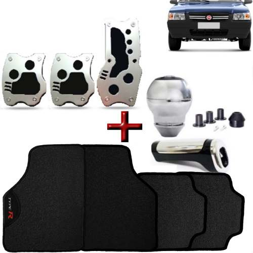 Kit Tuning Uno Tapete Type R Pedaleira Manopla Bola Cambio