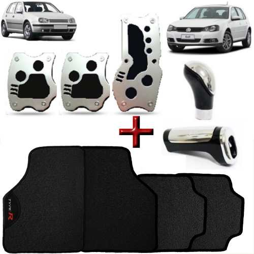 Kit Tuning Golf Tapete Type R Pedaleiras Manopla Bola Cambio
