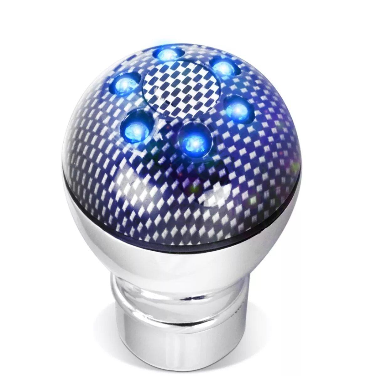 Bola Manopla de Cambio Led Neon Azul 3 Efeitos Carbon Tuning