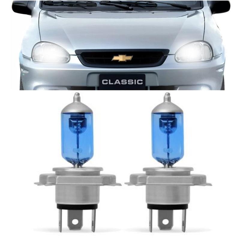 Kit Lâmpadas 100w Corsa Classic 2000 2001 2002 2003 2004 a 2011 Super Brancas Farol H4
