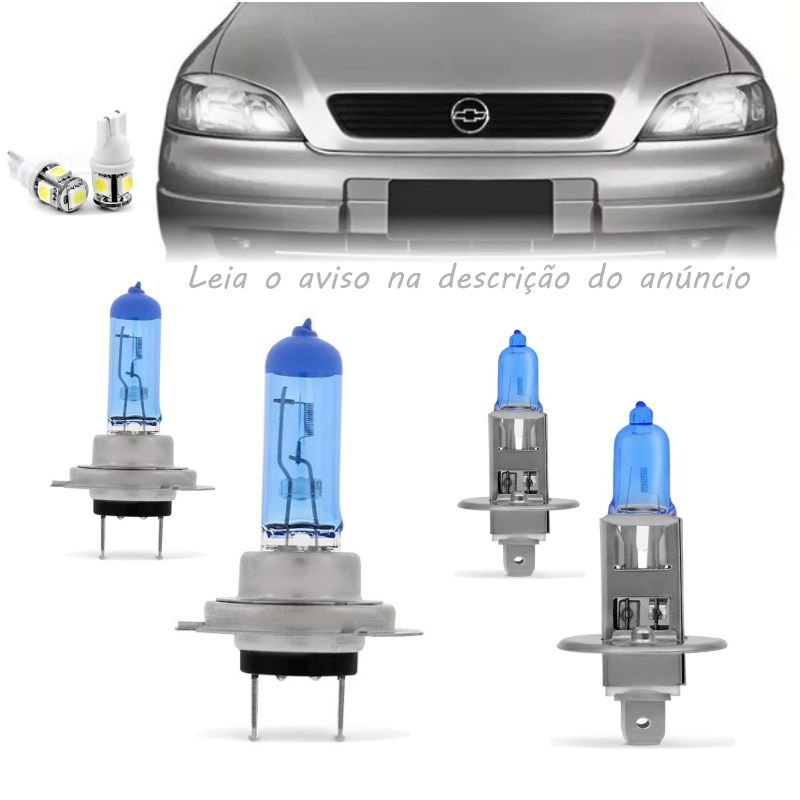 Kit Lampadas Astra 98 99 2000 2001 2002 Super Brancas H7 H1