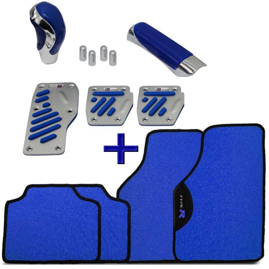 Kit Tuning Azul Tapete Type R Pedaleiras Manopla Bola Câmbio