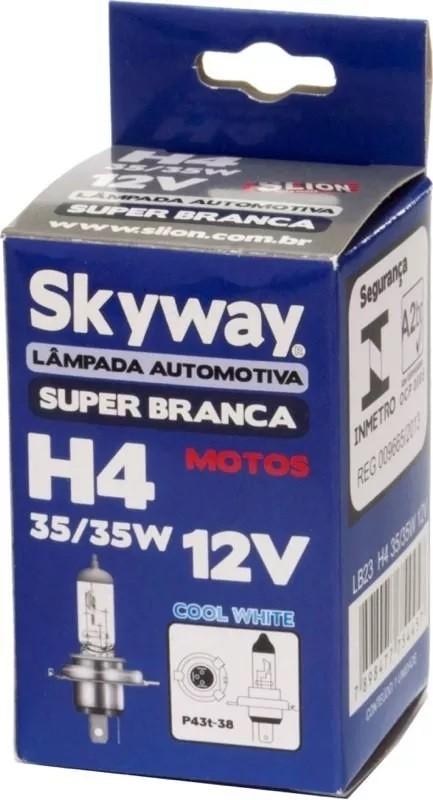 Lampada Luz Farol Moto Super Branca H4 35w Inmetro 4200k