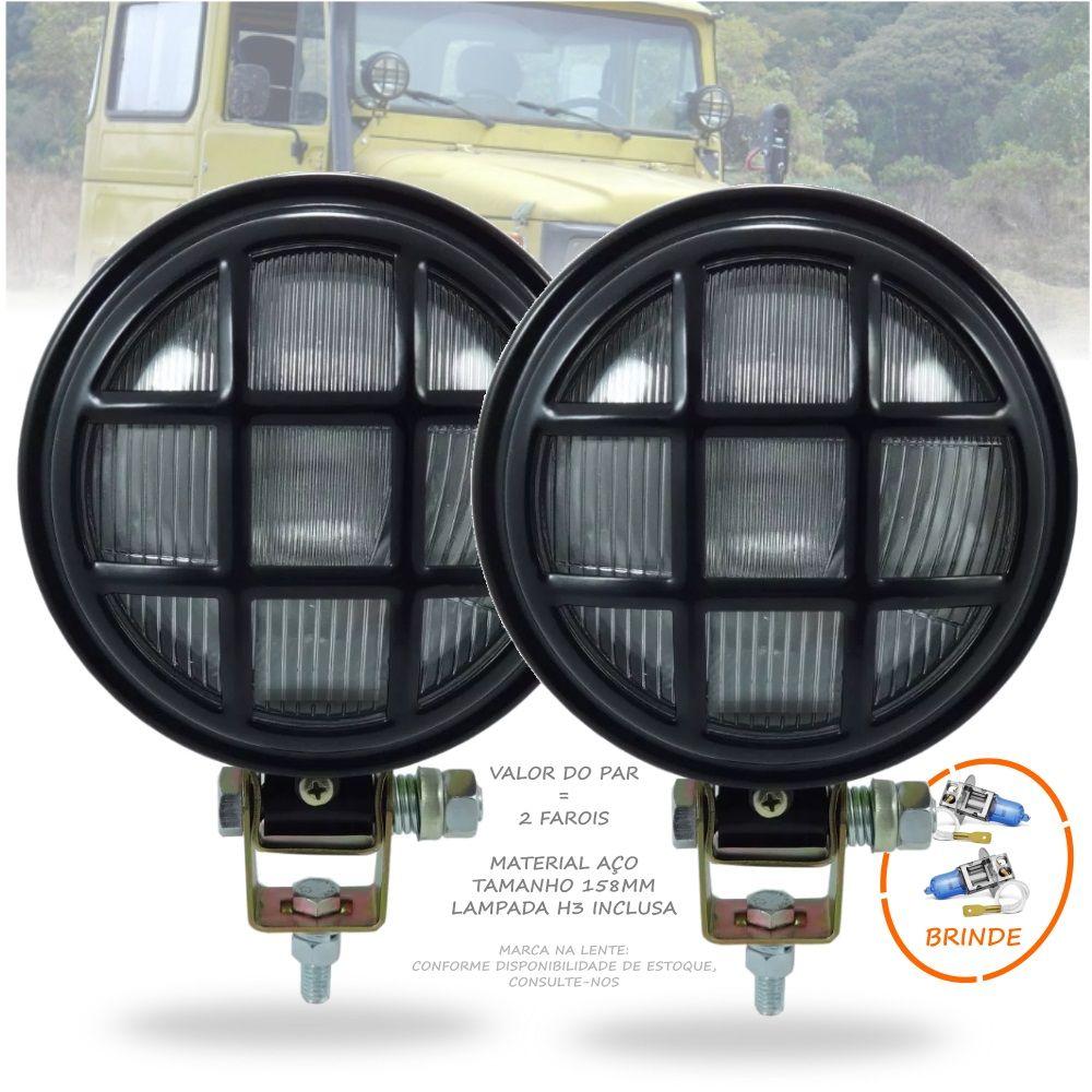 Par Farol Milha Manejo Off Road C/ Grade Jeep Troller Toyota 4X4