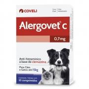 Alergovet C 0,7mg - Anti-histamínico a base de Clemastina para Gatos e Cães de até 15 kg (20 comprimidos) - Coveli