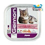 Alimento Úmido Gemon Patê Atum e Camarões para Gatos - Monge (100g)