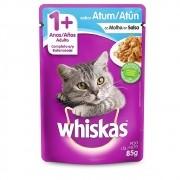 Alimento úmido Whiskas com ingredientes naturais - Sachê Sabor Atum ao Molho para Gatos Adultos - Mars (85g)