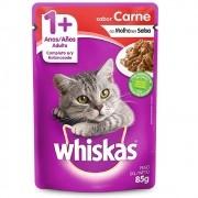 Alimento úmido Whiskas com ingredientes naturais - Sachê Sabor Carne ao Molho para Gatos Adultos - Mars (85g)