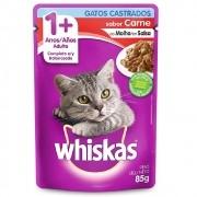 Alimento úmido Whiskas com ingredientes naturais - Sachê Sabor Carne ao Molho para Gatos Castrados - Mars (85g)