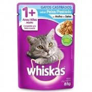 Alimento úmido Whiskas com ingredientes naturais - Sachê Sabor Peixe ao Molho para Gatos Castrados - Mars (85g)