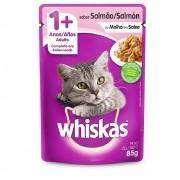 Alimento úmido Whiskas com ingredientes naturais - Sachê Sabor Salmão ao Molho para Gatos Adultos - Mars (85g)